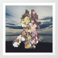 Pixel Leaves 4 Art Print