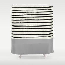 Storm Grey x Stripes Shower Curtain
