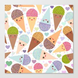 Kawaii funny Ice cream waffle cone, with pink cheeks and winking eyes Canvas Print