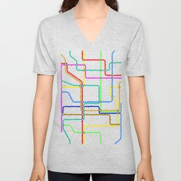 Colorful Subway Tunnel Pathway Map Unisex V-Neck
