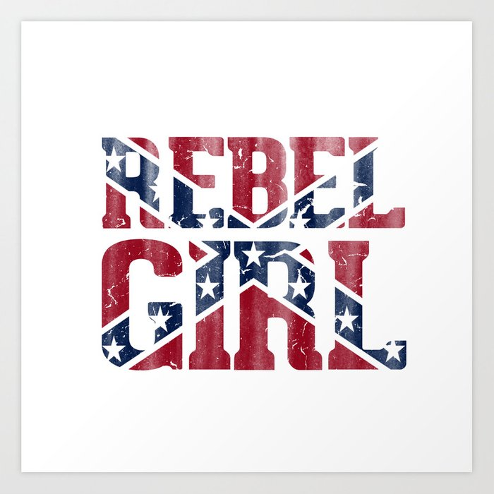 Rebel Girl Vintage Southern Confederate Flag Art Print