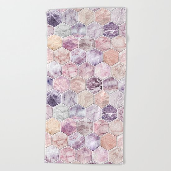 Rose Quartz and Amethyst Stone and Marble Hexagon Tiles Beach Towel