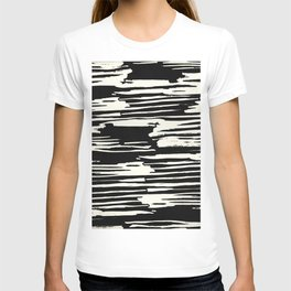 Modern Tribal Stripe Ivory and Black T-shirt
