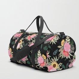 Watercolor Poppy & Sunflowers Floral Black Design Duffle Bag