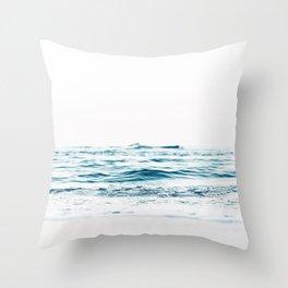 Water, Sea, Ocean, Water, Blue, Nature, Modern art, Art, Minimal, Wall art Throw Pillow