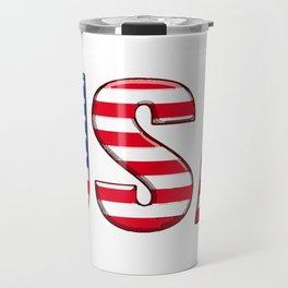 United States Font with American Flag Travel Mug