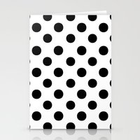 polka dots Stationery Cards featuring Polka Dots (Black/White) by 10813 Apparel