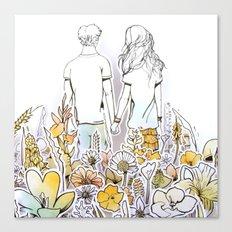 Holding Hands (3D papercut) Canvas Print