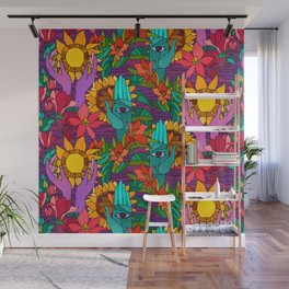 Pattern with sunflowers, magnolia, gladiolus and human hands Wall Mural
