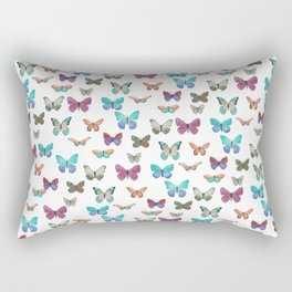 Butterfly pattern in blue, orange & pink Rectangular Pillow