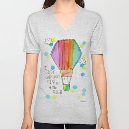 Just Wanna Fly hot air balloon illustration nursery decor kids room watercolor painting Unisex V-Neck