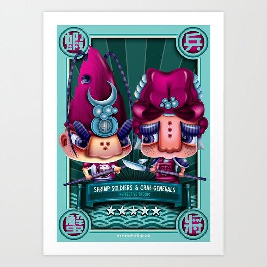 Shrimp Soldier and Crab General Art Print