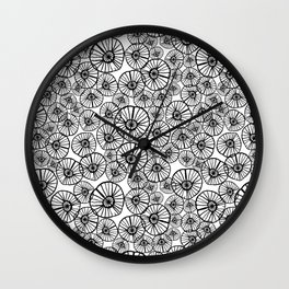 Lexi - squiggle modern black and white hand drawn pattern design pinwheels natural organic form abst Wall Clock