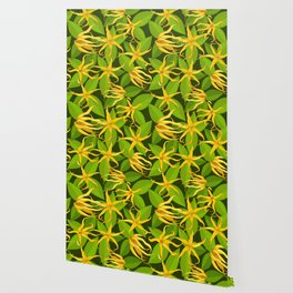 Ylang Ylang Exotic Scented Flowers and Leaves Pattern Wallpaper