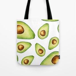 Green Avocados with Pits Pattern Digital Graphic Design Watercolor Painting Tote Bag