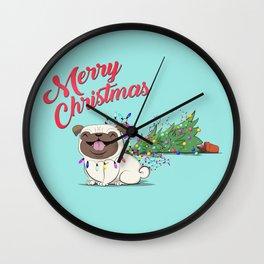Koko Pug Christmas Turquoise Wall Clock
