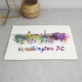 Washington dc skyline in watercolor Rug