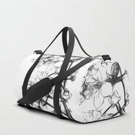 Cherry Blossoms Minimal Drawing Duffle Bag