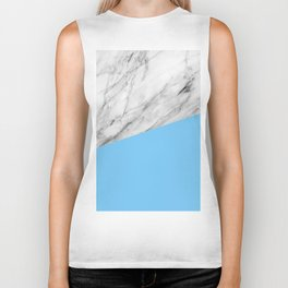 Marble and Blue Color Biker Tank
