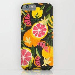 Grapefruit Blooms – Charcoal Palette iPhone Case