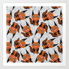 Funny orange monster Art Print