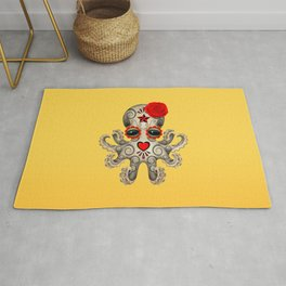 Red Day of the Dead Sugar Skull Baby Octopus Rug