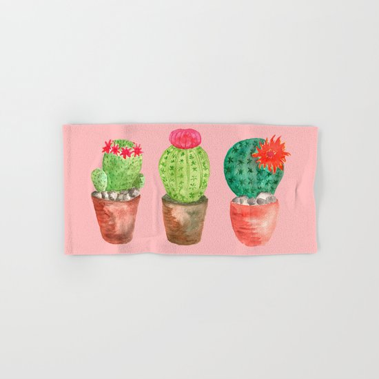 Three Cacti watercolor pink Hand & Bath Towel