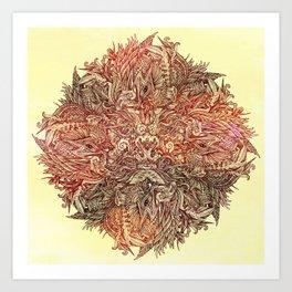 Botanical BioMorph Mandala Art Print