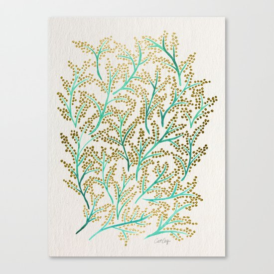 Green & Gold Branches Canvas Print