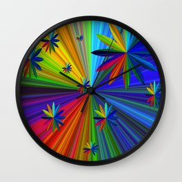 Rainbow Flowers Wall Clock