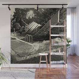 Sinking into the Pool Black and White Wall Mural