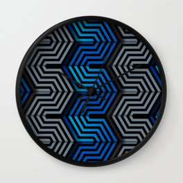 Technologic industrial hexagonal surface Wall Clock
