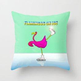 Flamingos on ice Throw Pillow
