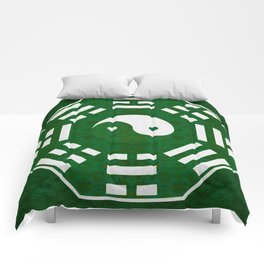 Deepest Emerald Green Yin Yang I Ching Stamp Print Comforters