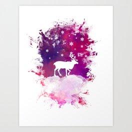 Caribou winter art Art Print