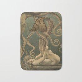 """""""Mermaid & Octopus No. 4"""" by David Delamare (No Border) Bath Mat"""