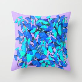 Blue Butterflies Pink Melange Art Throw Pillow