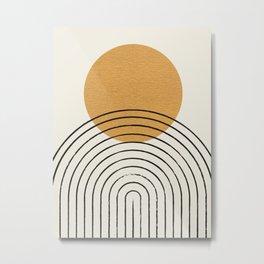 Gold Sun rainbow mid-century full Metal Print