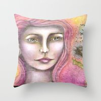 olivia joy Throw Pillows featuring Olivia by Art by Sandy & Mariah Gonyea