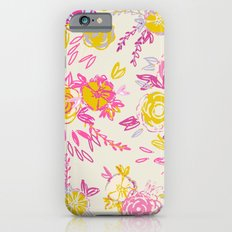 Flower garden in pink and yellow iPhone 6s Slim Case