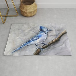 Blue Jay Watercolor Bird Rug