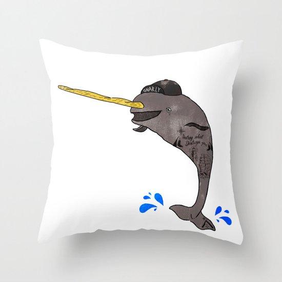 Gnar-Whal Throw Pillow