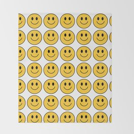 Smiley Face Pattern - White Background Variant Throw Blanket