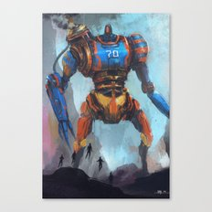Steampunk giant robot vs five flying heroes Canvas Print