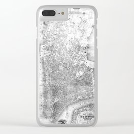 Vintage Map of New York City (1852) BW Clear iPhone Case