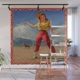 Vintage Cowgirl With Rope Wall Mural