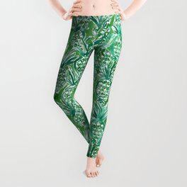 DEM PINEAPPLES Green Tropical Leggings