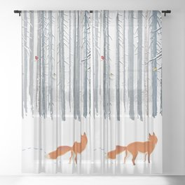 Fox in the white snow winter forest illustration Sheer Curtain