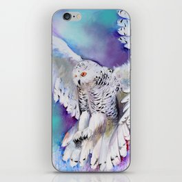 Flying White Owl Modern Watercolor iPhone Skin