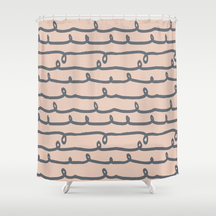 Minimalist Doodle Stripe Navy Gray On Blush Pink Shower Curtain By Followmeinstead